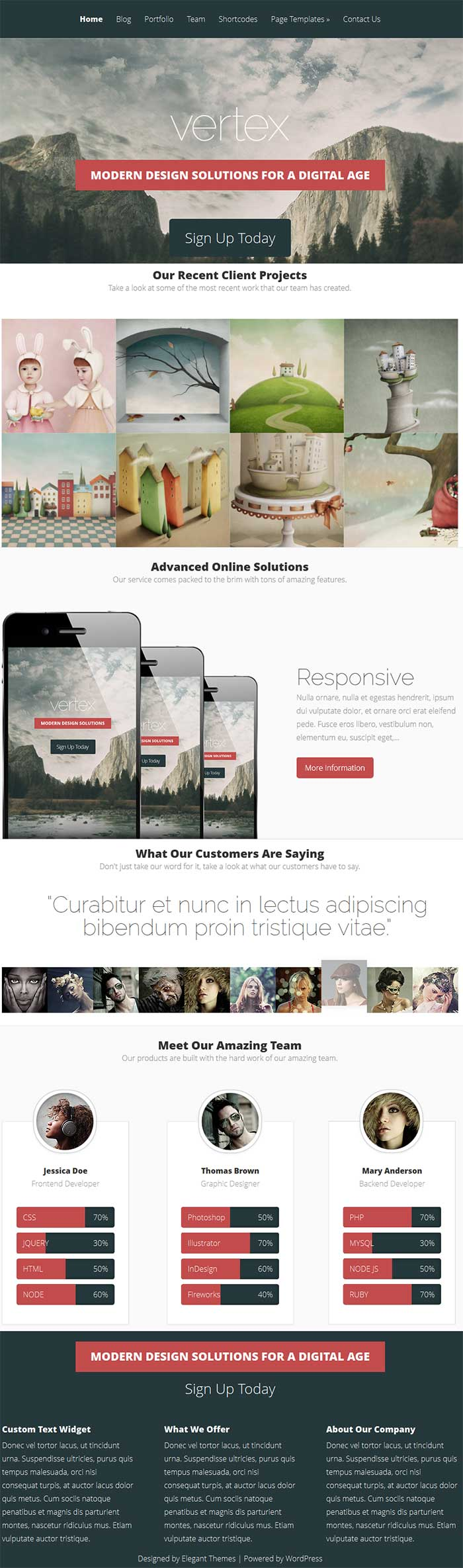 Designed by elegant themes powered by wordpress - Vertex Wordpress Theme Review Elegant Themes Review Demo