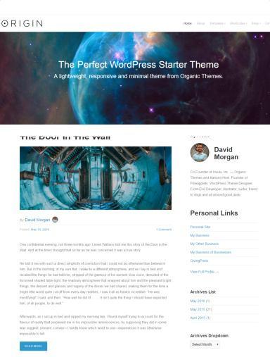 Origin Theme Review - Organic Themes | READ TRUTH